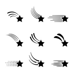 shooting stars icons isolated on white background vector image