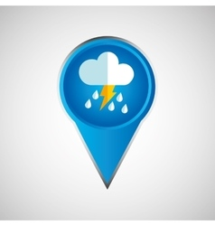 Signal weather cloud rain lightning pin design vector