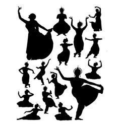 silhouette indian dancer vector image