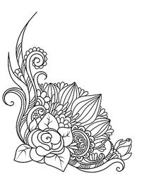 sketch angle Hand drawn decorative floral element vector image