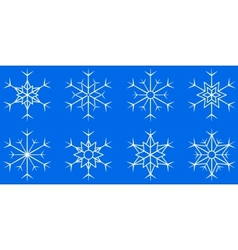 Snowflake set on blue background vector