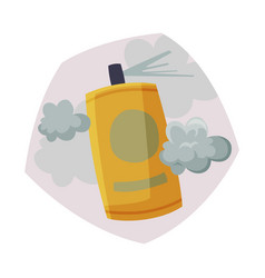 Spray bottle spraying with toxic cloud air vector