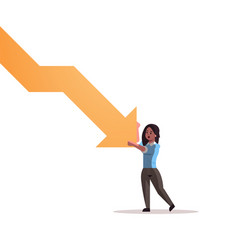 stressed businesswoman stopping economic arrow vector image