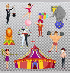 strong man and circus tent meme artist and clown vector image