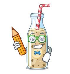 Student homemade tasty banana smoothie on cartoon vector