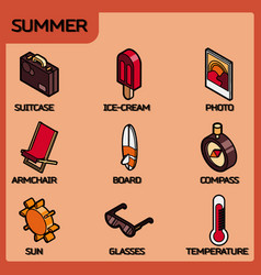summer color outline isometric icons vector image
