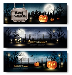 Three Holiday Halloween Banners with Pumpkins vector