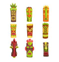 traditional religious totems set colorful ethnic vector image