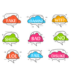 Trendy speech bubble isolated set vector