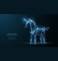 unicorn abstract origami paper unicorn vector image