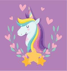 unicorn with pink stars hearts rainbow mane floral vector image