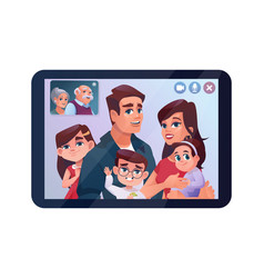 Video call family chat on tablet internet chat vector