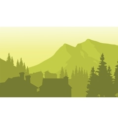 View house silhouette in the mountain vector image
