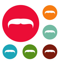 Villainous mustache icons circle set vector