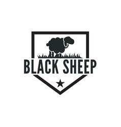 Vintage black sheep logo design inspiration vector