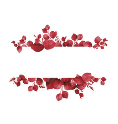 Watercolor banner burgundy branches vector