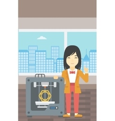 Woman with three D printer vector image