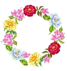 Wreath with China flowers Bright buds of magnolia vector
