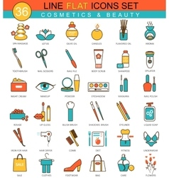 Beauty and cosmetics flat line icon set vector image vector image