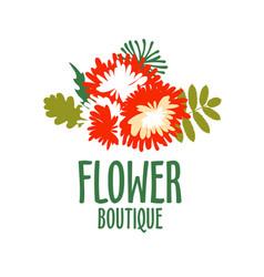 bright logo for a flower shop bouquet wedding vector image