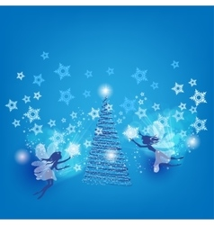 Christmas with the fairies vector image vector image