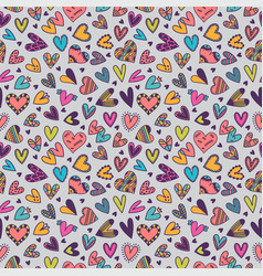 cute seamless pattern with hand drawn hearts vector image vector image