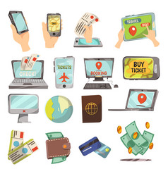 online booking service icons set vector image