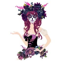 Sugar Skull Girl in Flower Crown13 vector image vector image