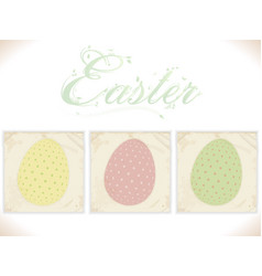 three vintage easter eggs on square panels vector image vector image