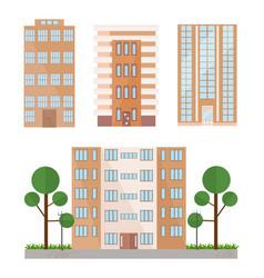 buildings facades set flat style vector image vector image
