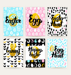 happy easter trendy posters vector image vector image