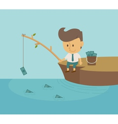 Businessman fishing dollar vector image vector image