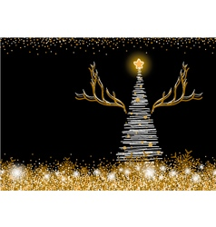 christmas tree design on black background vector image vector image