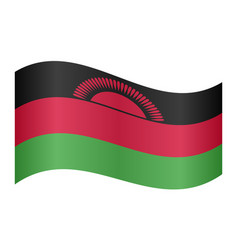 flag of malawi waving on white background vector image vector image
