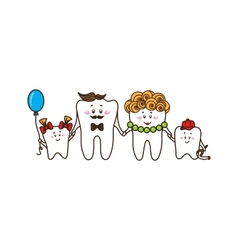 The family of the teeth on white background vector image