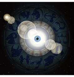 Zodiac signs in the space and the eye vector image