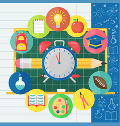 back to school banner with flat icon set on vector image