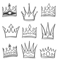 doodle crown various sketch collection vector image vector image