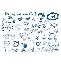 freehand elements with love doodles set vector image vector image