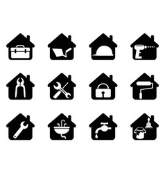 house with tools icon vector image vector image