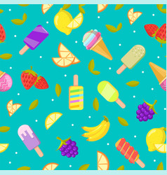 seamless ice cream pattern colorful cartoon vector image vector image