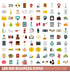 100 inn business icons set flat style vector