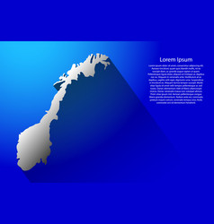 abstract map of norway with long shadow on blue vector image