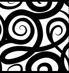 abstract ornamental spiral seamless pattern black vector image