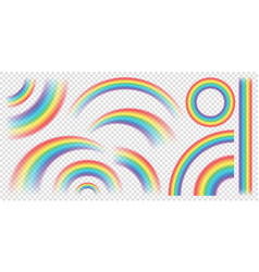 abstract realistic colorful rainbow on transparent vector image