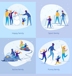 active sportive family enjoy christmas vacation vector image