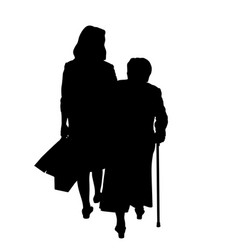 adult daughter and elderly mother silhouette vector image