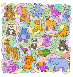 Animal toys pattern vector
