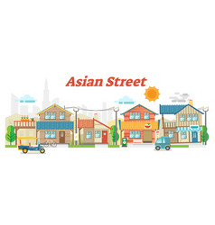 asian town street outdoor scene with buildings vector image