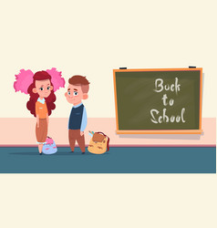 Back to school small girl and boy standing over vector